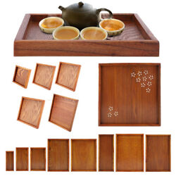 HOT Wood Serving Tray Food Tea Table Bamboo Tray Coffee Plate RectangleSquare