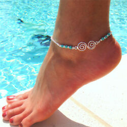 Bohemian Turquoise Ankle Bracelet Women Beads Anklet Foot Jewelry Chain H