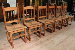 Group 6 chairs rustic living room seats armchairs wooden oak antique style 900