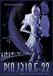 NASA Travel Recruitment Poster PSO J318.5-22 Where the Nightlife Never Ends Art