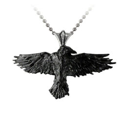 Alchemy of England Gothic Black Raven Bird Punk Pendant Necklace P193
