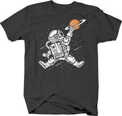 Astronaut in Outer Space Reaching for Saturn Ring Planet Tshirt