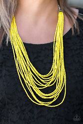 Paparazzi jewelry yellow seed beads Necklace & Earrings