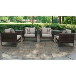 Barcelona 4 Piece Outdoor Wicker Patio Furniture Set 04g