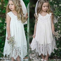 Kids Girls Baby Princess Lace Dress Boho Flower Wedding Party Beach Prom Pageant