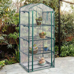 Mini Greenhouse Clear Plastic Cover Growth Flowers Portable 4 Metal Shelves Warm