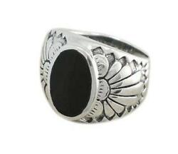925 Sterling Silver Mens Genuine Black Onyx Exotic Indian Native Ameri