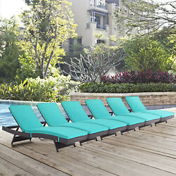 Outdoor Patio Wicker Rattan Chaise Lounge Chair in Espresso Turquoise - Set of 6
