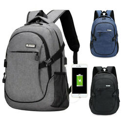 Anti theft Mens USB with Charger Port Backpack Laptop Notebook Travel School Bag $18.95
