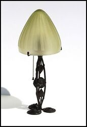 Nancy DAUM Wrought Iron Desk Lamp Glass Shade Signed Electric Antique Bronze art
