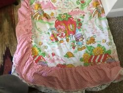 Vintage Strawberry Shortcake American Greetings Twin Comforter Fitted Flat She
