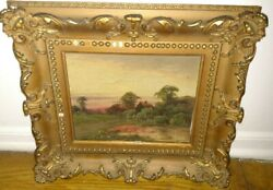 Antique oil on canvas painting landscape scene signed initials mystery artist $199.99