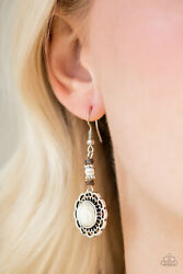 Paparazzi jewelry dainty silverwhite stone & wooden beads earrings nwt