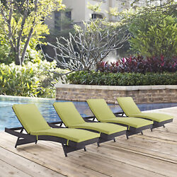 Outdoor Patio Wicker Rattan Chaise Lounge Chair in Espresso Peridot - Set of 4