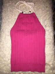 Milly New York Cable Knit Halter Pink $219 P Open Back Sexy Elegant Hot Piece $20.00
