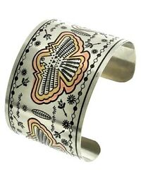 SILVER WITH MULTI-COLORED ETCHED PHOENIX BIRD CUFF BRACELET  TRIBAL