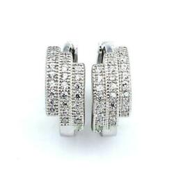 Sparkling White CZ Path Pure 925 Sterling Silver Hoop Earrings K01