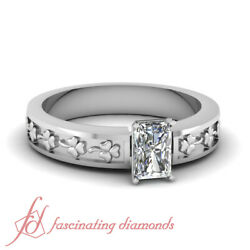 One Carat Radiant Cut Single Diamond Hand Engraved Floral Design Engagement Ring $3,499.99