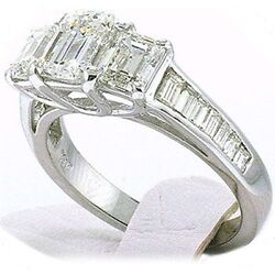 3.10 carat total 3 Stone Emerald Cut Diamond Engagement Ring SI1 clarity w bagt