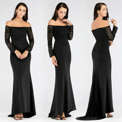 Ever Pretty US Long Sleeve Formal Dresses Black Lace Off Shoulder Evening Gown $26.99