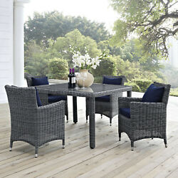 5PC Wicker Rattan Outdoor Patio Furniture Canvas Navy Sunbrella® Dining Set