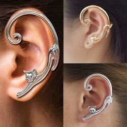 1Pc Creative Long tailed Cat Ear Stud Cuff Wrap Cartilage Earrings Jewelry Women