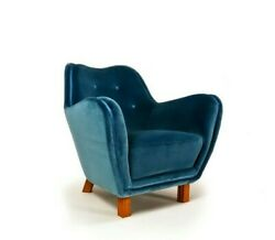 Swedish Armchair Reupholstered in Blue Velvet 1950s Hans Wegner Fritz Hansen era