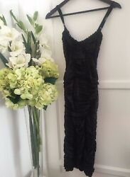 RARE! DOLCE & GABBANA Designer Dress Gorgeous Runway Dress Black Ruched Silk 36