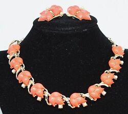 Vintage Gold Tone Coral Orange Molded Lucite Thermoset Necklace Earrings Set 316