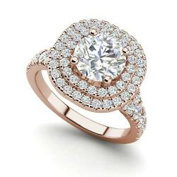 Double Halo 3.75 Carat VS1D Round Cut Diamond Engagement Ring Rose Gold