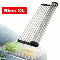 Over the Sink Multipurpose Roll-Up Dish Drying Rack Pan Bottle Food Drainer Mat $11.85