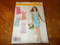Simplicity Pattern 1479 Girls Girls Plus Dresses w Tier Neck Sleeve Opts $1.50
