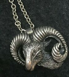 ANTIQUE STERLING SILVER HIGH QUALITY RAM HEAD PENDANT NECKLACE