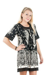 New Women#x27;s Polyester Casual Printed White Black Dresses #59 $15.99