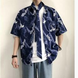 New Casual Short sleeved Mens Trend Chinese style crane crane Printing ShirtTie $30.78