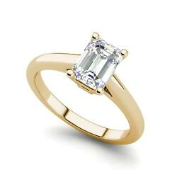 Solitaire 2.75 Carat VS2D Emerald Cut Diamond Engagement Ring Yellow Gold