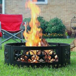 Heavy Duty Metal Wood Burning Firepit Campfire Ring Large Outdoor 36 Inch Black
