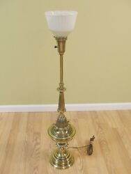 Vintage Brass STIFFEL Torchiere Lamp Heavy 38.5quot; w Glass Shade 3 way pedal leaf $99.95