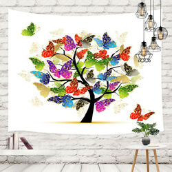 Colorful Tree and Butterfly Tapestry Wall Hanging Wall Art Decor for Bedroom $14.71