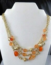 Vintage Lucite Orange Beaded Statement Necklace Layered Chain Strand Gold Tone