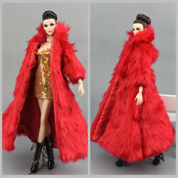 2 Pcs Fashion Red Long Fur Coat +dress  ClothesOutfit For 11.5in.Doll $8.99