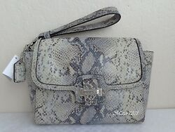 Coach NWT F50579 Taylor Exotic Flap Clutch Ivory Gray
