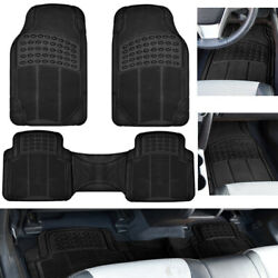 Car Floor Mats for Auto All Weather Rubber Liners Heavy Duty Fit Black 3pc Pack $18.99