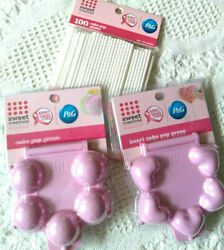 Sweet Creations Round & Heart Cake Pops Press Mold PINK and 100 Sticks Set NEW
