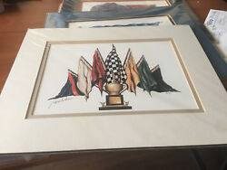 TOM BUTLER SIGNED NEW WHITE MATTED PRINT 14 X 11 SEVEN FLAGS OF RACING