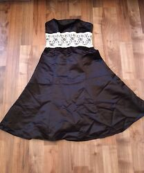 Wtoo Strapless Black And White Lace Tea Length Dress Size 6 $8.50