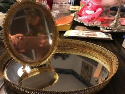 Vintage Oval 12x 8 12 Filagree Vanity Mirror And Footed Oval Mirror Stand