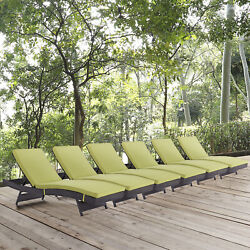 Outdoor Patio Wicker Rattan Chaise Lounge Chair in Espresso Peridot - Set of 6