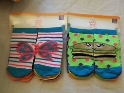 Faded Glory Girls Socks No Show Size Medium 7.5 3.5 12 Pairs Burgers Butterfly $9.89
