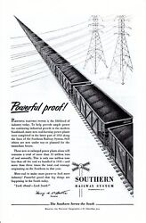 Vintage print ad Train Southern Railway 1954 Electric Power powerful proof ad $9.95